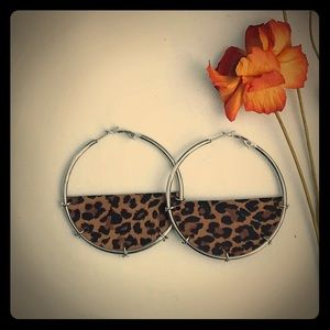 Leopard leather hoops
